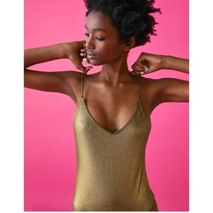 NWT Zara metallic gold one piece swimsuit